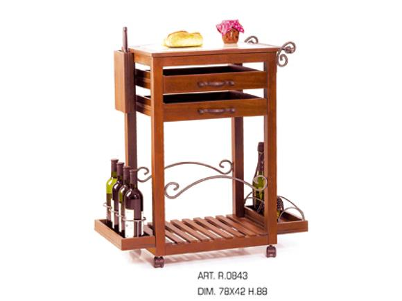 Carrello da cucina R0843, Cantinette e Carrelli in Legno - Arte e Stile
